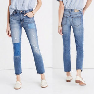 Madewell Cruiser Straight Distressed Patch Jeans